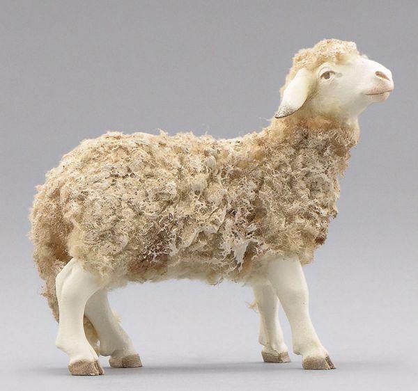 Immagine di Pecora con lana in piedi cm 30 (11,8 inch) Presepe vestito Immanuel stile orientale statua in legno Val Gardena