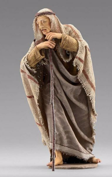 Picture of Standing Shepherd with stick cm 30 (11,8 inch) Immanuel dressed Nativity Scene oriental style Val Gardena wood statue fabric clothes