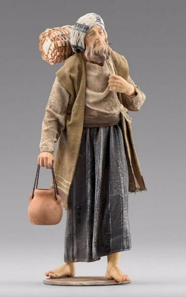 Immagine di Pastore con brocca cm 30 (11,8 inch) Presepe vestito Immanuel stile orientale statua in legno Val Gardena abiti in stoffa