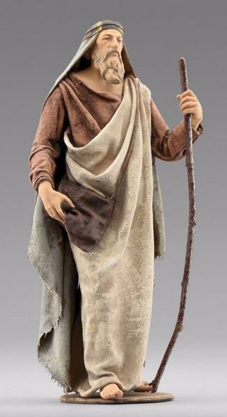 Picture of Shepherd with bag cm 30 (11,8 inch) Immanuel dressed Nativity Scene oriental style Val Gardena wood statue fabric clothes
