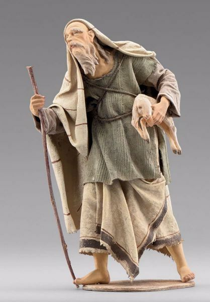 Picture of Elderly Shepherd with lamb cm 30 (11,8 inch) Immanuel dressed Nativity Scene oriental style Val Gardena wood statue fabric clothes