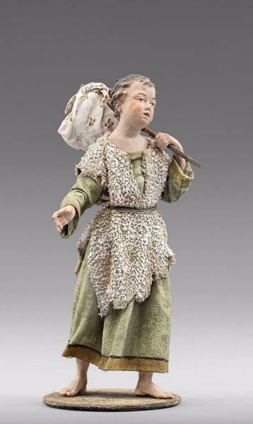 Picture of Child with stick cm 30 (11,8 inch) Immanuel dressed Nativity Scene oriental style Val Gardena wood statue fabric clothes