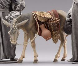 Picture of Donkey Standing (left) cm 30 (11,8 inch) Immanuel dressed Nativity Scene oriental style Val Gardena wood statue