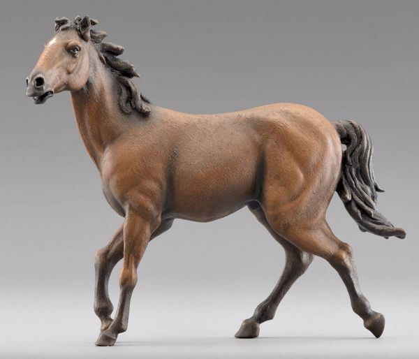 Picture of Brown Horse running cm 30 (11,8 inch) Immanuel dressed Nativity Scene oriental style Val Gardena wood statue