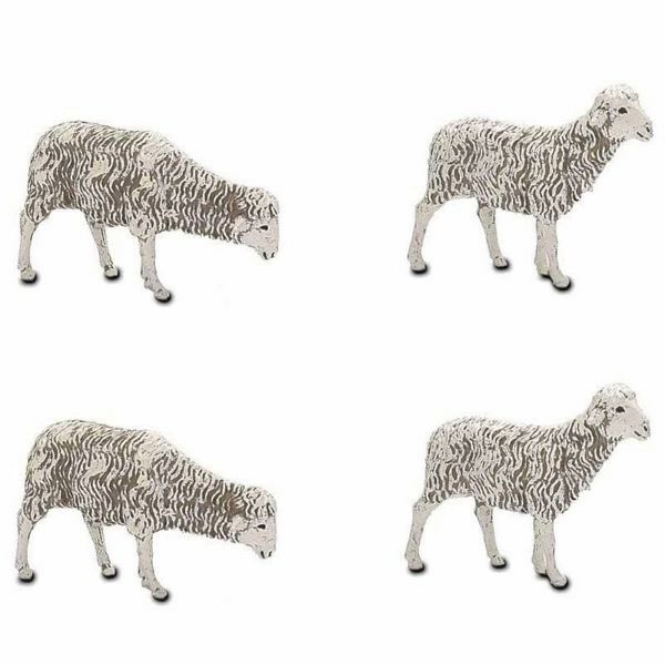 Picture of 4 Sheep Set cm 12 (4,7 inch) Landi Moranduzzo Nativity Scene plastic PVC Statues Neapolitan style
