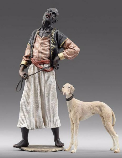 Picture of Servant of the Three Kings with Sighthound cm 14 (5,5 inch) Immanuel dressed Nativity Scene oriental style Val Gardena wood statue fabric clothes