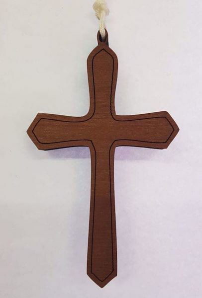 Picture of Simple wooden pectoral Cross cm 10x6 (3,9x2,4 in) First Communion dress pendant