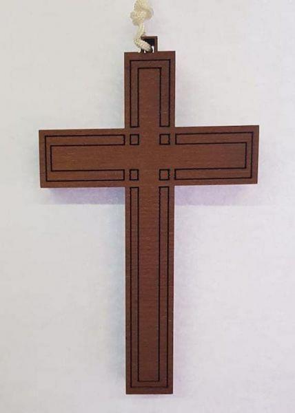 Imagen de Cruz pectoral simple de Madera cm 10x6 (3,9x2,4 in) colgante para Vestido Primera Comunión