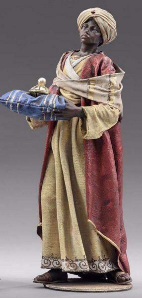 Imagen de Baltasar Rey Mago Negro de pie cm 40 (15,7 inch) Pesebre vestido Immanuel estilo oriental estatua en madera Val Gardena trajes de tela
