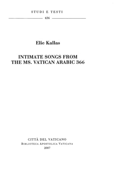 Imagen de Intimate Songs from the Ms. Vatican Arabic 366 Elie Kallas
