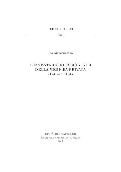 Immagine di L'inventario di Fabio Vigili della Medicea privata (Vat. lat. 7134) Ida Giovanna Rao
