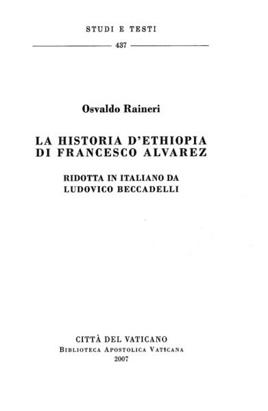 Imagen de La Historia d' Ethiopia di Francesco Alvarez. Ridotta in italiano da Ludovico Beccadelli Osvaldo Raineri
