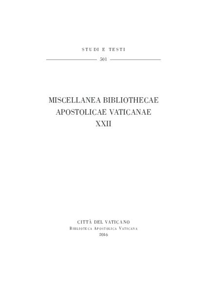 Imagen de Miscellanea Bibliothecae Apostolicae Vaticanae (XXII)