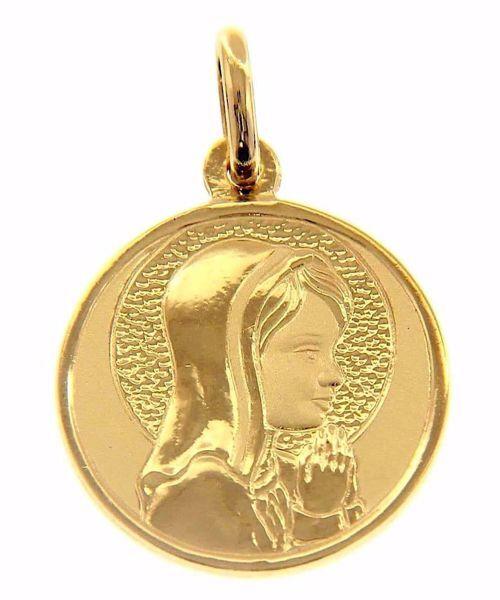 Imagen de Nuestra Señora Madonna en Oración con aureola Medalla Sagrada Colgante redonda gr 3,9 Oro amarillo 18kt para Mujer