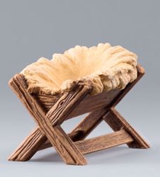 Imagen de Cuna cm 10 (3,9 inch) Belén para vestir Homobono de madera y cobre