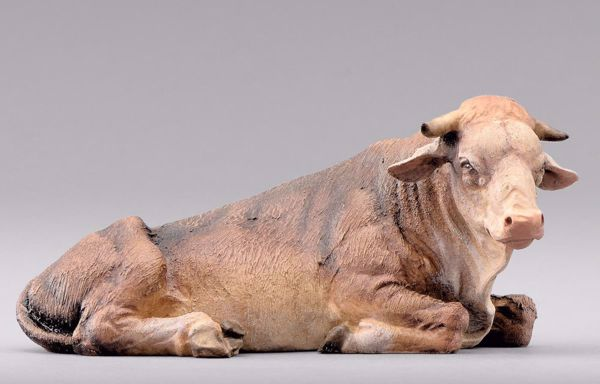 Immagine di Bue cm 10 (3,9 inch) Presepe da vestire Omobono in legno e rame