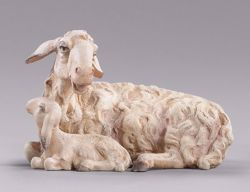 Picture of Lamb lying cm 20 (7,9 inch) DIY undressed Homobonus Nativity in wood and copper