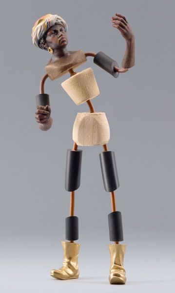 Imagen de Maniquí Cód.06 cm 20 (7,9 inch) Belén para vestir Homobono de madera y cobre