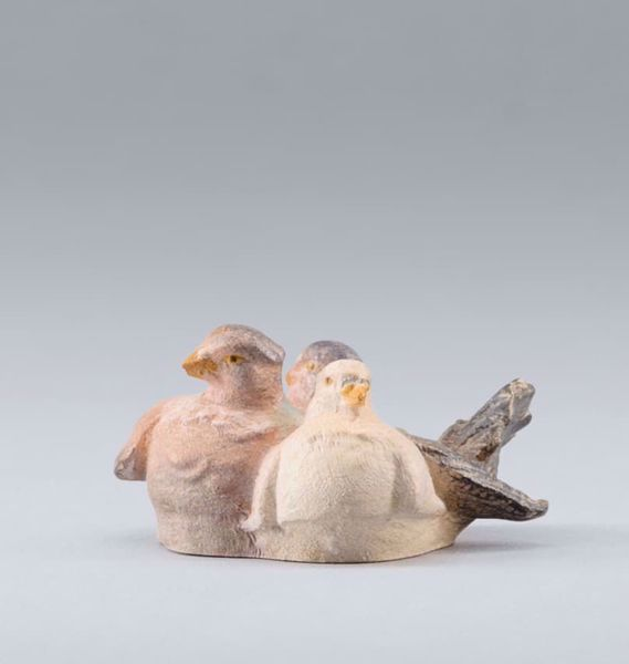 Picture of 3 Pigeons for basket cm 14 (5,5 inch) DIY undressed Homobonus Nativity in wood and copper