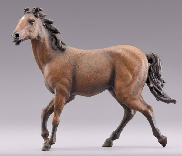Immagine di Cavallo marrone cm 14 (5,5 inch) Presepe da vestire Omobono in legno e rame