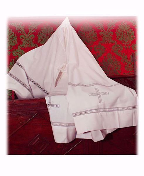 Picture of MADE TO MEASURE Square neck liturgical Alb with Cross and Lily Gigliuccio embroidery ivory wool-blend fabric