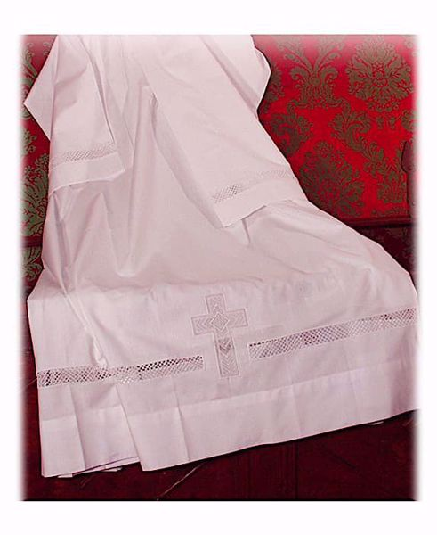 Picture of MADE TO MEASURE Square neck liturgical Alb with macramè and cross embroidery white cotton blend fabric.