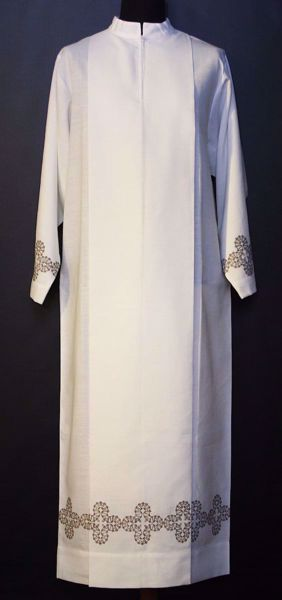 Picture of MADE TO MEASURE Closed collar liturgical Alb with Crosses embroidery ivory wool-blend fabric