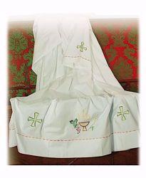 Immagine di SU MISURA Camice liturgico collo quadro ricamo con filato colorato Croce Calice Spighe e Uva misto cotone bianco