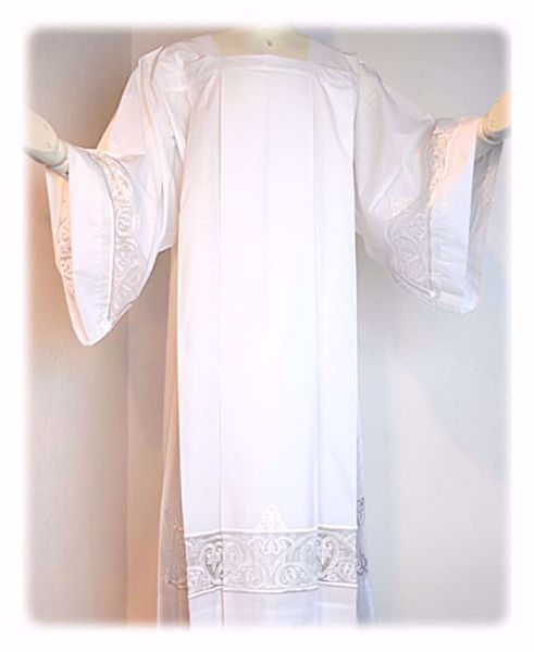 Picture of MADE TO MEASURE Square neck liturgical Alb with geometric embroidery on tulle white cotton blend fabric