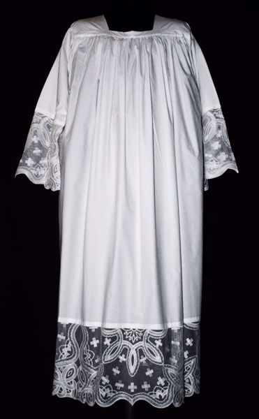 Picture of MADE TO MEASURE Square neck liturgical Alb with little Crosses and liberty embroidery white cotton blend fabric