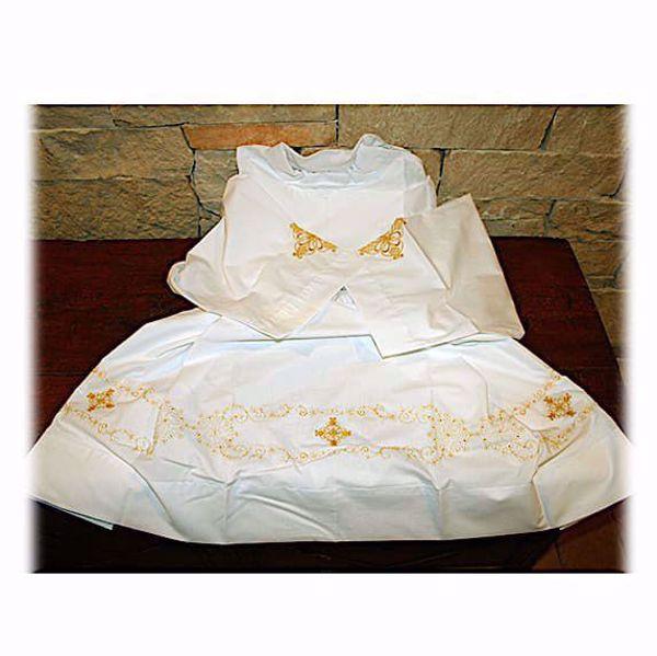 Immagine di SU MISURA Camicione liturgico collo chiuso ricamo oro arabesco misto cotone bianco