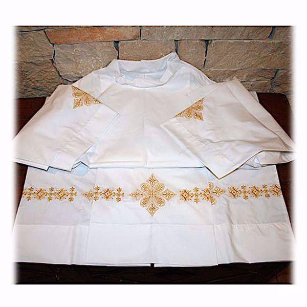Immagine di SU MISURA Camicione liturgico collo chiuso ricamo oro Croce floreale misto cotone bianco