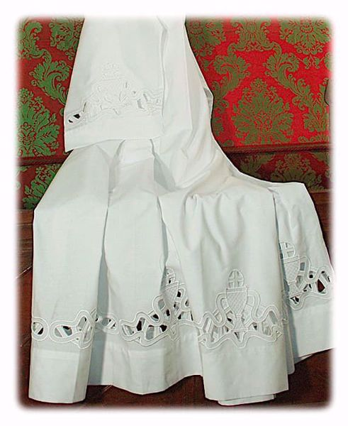 Picture of MADE TO MEASURE Square neck liturgical Alb with Chalice guipures embroidery  white cotton blend fabric.