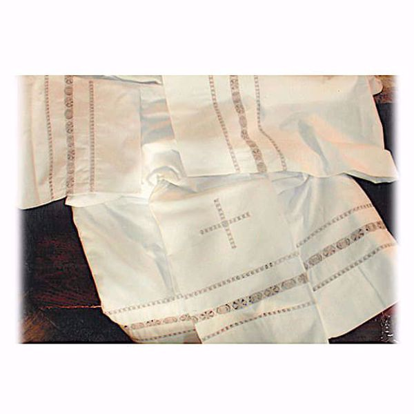 Picture of MADE TO MEASURE Square neck liturgical Surplice with Cross and Symbols hand embroidery white cotton blend fabric.