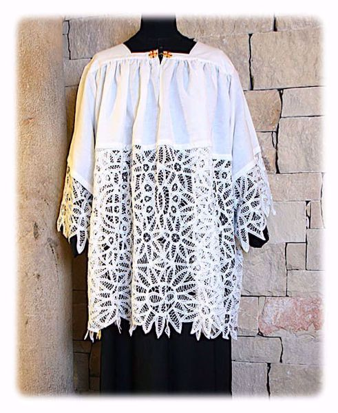 Picture of MADE TO MEASURE Square neck liturgical Surplice with floral Brussels lace white cotton blend fabric.