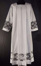 Imagen de A MEDIDA Sobrepelliz litúrgica cuello cuadrado bordado superpuesto Cordero Pelican Cruz mezcla de algodón blanco