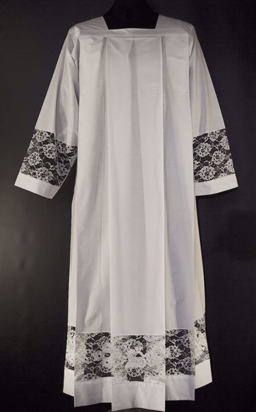 Picture of MADE TO MEASURE Square neck liturgical Surplice with roses lace and Lamb Pelican Cross overlapping embroidery white cotton blend fabric.