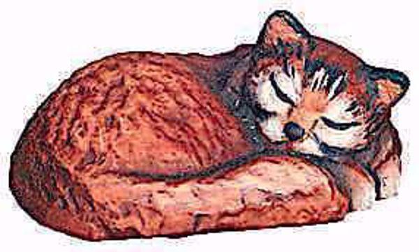 Imagen de Gato durmiente cm 6 (2,4 inch) Belén Matteo estilo oriental colores al óleo en madera Val Gardena