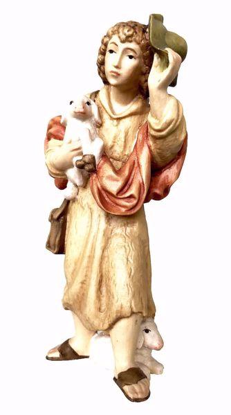 Immagine di Pastore con Pecora e Cappello cm 6 (2,4 inch) Presepe Matteo stile orientale colori ad olio in legno Val Gardena