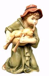 Picture of Kneeling Shepherd with Bagpipe cm 6 (2,4 inch) Matteo Nativity Scene Oriental style oil colours Val Gardena wood