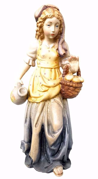 Picture of Shepherdess with Basket cm 6 (2,4 inch) Matteo Nativity Scene Oriental style oil colours Val Gardena wood