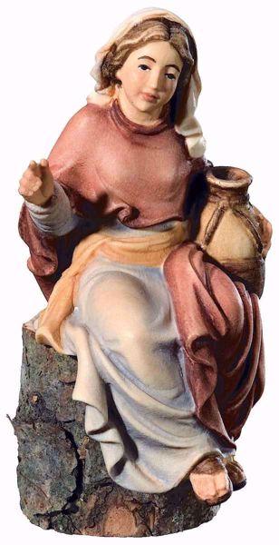 Imagen de Pastora sentada cm 6 (2,4 inch) Belén Matteo estilo oriental colores al óleo en madera Val Gardena