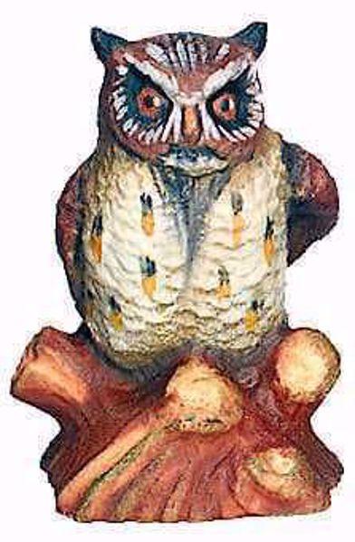 Imagen de Búho cm 8 (3,1 inch) Belén Matteo estilo oriental colores al óleo en madera Val Gardena