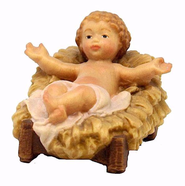 Immagine di Gesù Bambino con Culla cm 8 (3,1 inch) Presepe Matteo stile orientale colori ad olio in legno Val Gardena