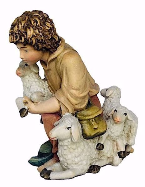 Picture of Kneeling Young Shepherd with Sheep cm 8 (3,1 inch) Matteo Nativity Scene Oriental style oil colours Val Gardena wood