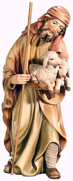 Picture of Shepherd with Sheep cm 8 (3,1 inch) Matteo Nativity Scene Oriental style oil colours Val Gardena wood