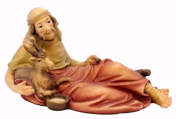 Immagine di Pastore Sdraiato con Capra cm 8 (3,1 inch) Presepe Matteo stile orientale colori ad olio in legno Val Gardena