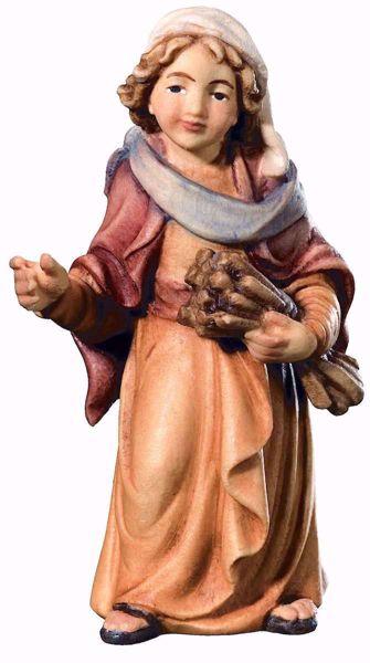 Imagen de Pastor con Trigo cm 8 (3,1 inch) Belén Matteo estilo oriental colores al óleo en madera Val Gardena