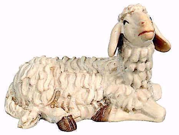 Picture of Lying Sheep cm 8 (3,1 inch) Matteo Nativity Scene Oriental style oil colours Val Gardena wood