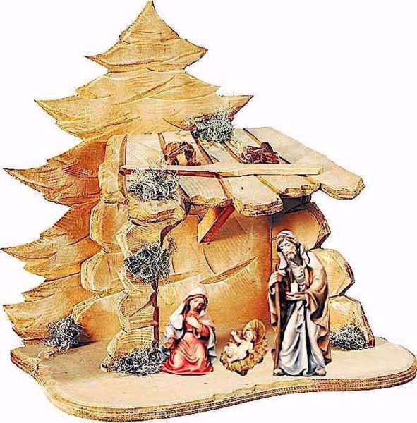 Immagine di Sacra Famiglia con Capanna cm 8 (3,1 inch) Presepe Matteo stile orientale colori ad olio in legno Val Gardena